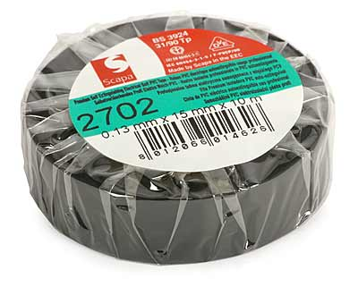 Insulation Adhesive Tape: PVC SCAPA 2702<br>(0.13*15mm/10m, black)