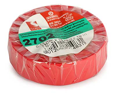 Insulation Adhesive Tape: PVC SCAPA 2702<br>(0.13*15mm/10m, red)